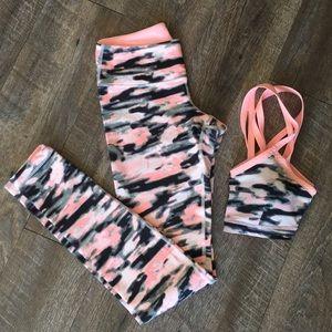 Lululemon pink camo bra top and leggings